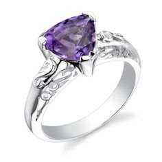Oravo Oravo 1.50 carats Trillion Cut Amethyst Ring in Sterling Silver