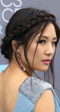 15 Celebrities Show You How to Style Crown Braids: Constance Wu Crown Braid Rachel Mcadams, Beautiful Asian Women, Beautiful Celebrities, Julianne Hough, Kelly Hu, Constance Wu, Everyday Hairstyles, Celebrity Hairstyles, Classic Beauty