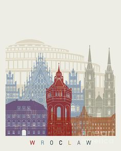 Wroclaw Skyline Poster Painting by Pablo Romero City Skyline Art, City Art, Travel Illustration, Graphic Illustration, Watercolor Architecture, Tourism Poster, City Vector, Voyage Europe, New Poster