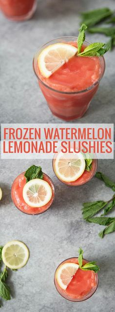 These refreshing beverages are perfect for hot summer days. Mint, lemon and watermelon pureed together to create a thick and frosty beverage. Enjoy with or without alcohol. Refreshing Drinks, Summer Drinks, Fun Drinks, Healthy Drinks, Alcoholic Drinks, Beach Drinks, Slushies, Watermelon And Lemon, Watermelon Lemonade
