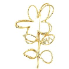 Oscar de la Renta Goldtone Botanical Scribbled Pin ($195) ❤ liked on Polyvore featuring jewelry, brooches, gold, floral jewellery, gold jewellery, oscar de la renta jewelry, gold tone brooches and gold brooch