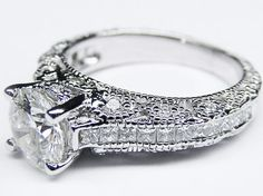 Vintage Three Side Pave Engagement Ring