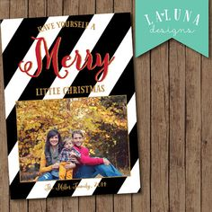 Christmas Card, Photo Christmas Card, Black and White Stripe, Merry Christmas, Happy Holidays, Holiday Card, DIY Printable Christmas Card