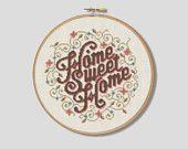 Floral Home Sweet Home - Cross Stitch Pattern (Digital Format - PDF)