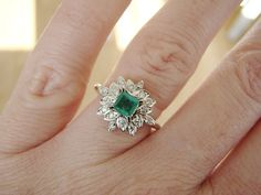 Halo Diamond Flower Emerald Engagement Ring by PenelliBelle