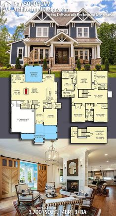 DesertRose,;,Architectural Designs Craftsman Plan 500040VV gives you over 3,700 sq ft of heated living space with 4 beds and 3+ baths with a bonus room for expansion (500+ sq. ft.), Ready when you are! Where do YOU want to build?,;,