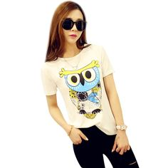 Best price on Colorful T Shirt Owl Printing Round Neck //    Price: $ 16.80  & Free Shipping Worldwide //    See details here: http://mrowlie.com/colorful-t-shirt-owl-printing-round-neck/ //    #owl #owlnecklaces #owljewelry #owlwallstickers #owlstickers #owltoys #toys #owlcostumes #owlphone #phonecase #womanclothing #mensclothing #earrings #owlwatches #mrowlie #owlporcelain