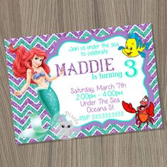 Little Mermaid Invitation, Ariel Invitation, Disney Little Mermaid, Little Mermaid Birthday, Princess Ariel, Mermaid Invitation by CutePixels. ★Matching invitations http://etsy.me/1M54POJ and complete Party Package http://etsy.me/1dhLM91  εїз WHAT IS IT? ☀ This listing is for an Invitation you will receive as a digital file (JPEG) for you to print or send by mail. ☀ It comes as shown on photos, personalized with your details and wording. For design modifications, bleed lines, different size…