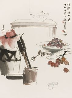 Leslie Goh, Wine Jar and fruit still life, Chinese Ink and pigments on rice…