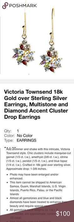 Victoria Townsend 18 K gold sterling silver earrin Victoria Townsend brand-new 18 K gold over sterling silver rose diamond 💎. Ladies woman's earrings.  Check out my closet, we have a variety of Victoria Secret, Bath and Body Works, handbags 👜 purse 👛 Aerosoles, shoes 👠fashion jewelry, women's clothing, Beauty products, home 🏡 decors & more...  Ships via USPS. Don't forget to bundle, you save big! Always a FREE GIFT 🎁 with every purchase!!! Thank you & Happy Poshing!!! Jewelry Earrings