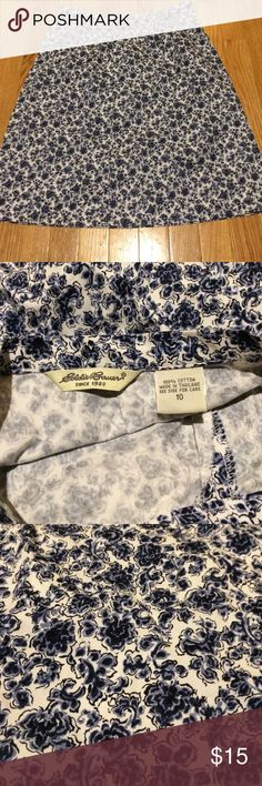 Eddie Bauer skirt size 10 Cotton blue floral pattern on white background. Wore once, smoke free home. Bundle to save more Eddie Bauer Skirts Pencil