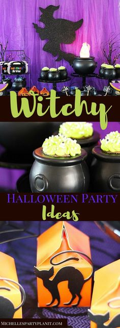 Witchy Halloween Party Ideas includes recipes for Witch Cauldron Cupcakes, Floats and free party game printables by Michelles Party Plan-It. Halloween Magic, Halloween Party Themes, Halloween Appetizers, Halloween Goodies, Halloween Activities, Diy Halloween Decorations, Holidays Halloween, Halloween Treats, Halloween Diy