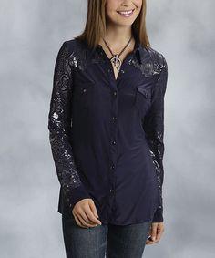 Loving this Dark Blue & Gray Paisley Button-Up Top - Women & Plus on #zulily! #zulilyfinds