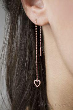 Rose Heart Earrings Gold Heart Threader Earrings Rose Gold Earrings Dainty Love Threaders Long Gold Chain Earrings Gift For Her Chain Earrings, Rose Gold Earrings, Cute Earrings, Heart Earrings, Crystal Earrings, Beautiful Earrings, Diamond Earrings, Dainty Earrings, Diamond Jewelry