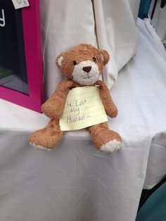 FOUND in LONDON  This light brown and white teddy bear was found at the Grenwich Market in London. Can we help him find his human? Contact: https://twitter.com/AdaAndFlo or https://www.facebook.com/TeddyBearLostAndFound