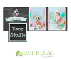 Facebook Timeline Template chalkboard cupcake pastel photography photographer marketing photo cake smash first birthday PHOTOSHOP USERS ONLY...