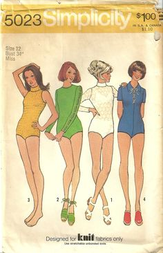 Classy Patterns - Simplicity 5023 Vintage 70s Yoga Dance Ballet Yoga Leotard Bodysuit Sewing Pattern Size 12