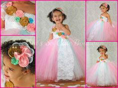 Romantically Vintage Flower Girl Tutu Dress (Pink, Mint, Gold, and White)
