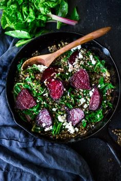 EAT CLEAN | 20 VEGGIE BASED MEALS | Warm Lentils with wilted chard, roasted beets, goat cheese and spring herbs. A simple tasty vegetarian meal! | www.feastingathome.com