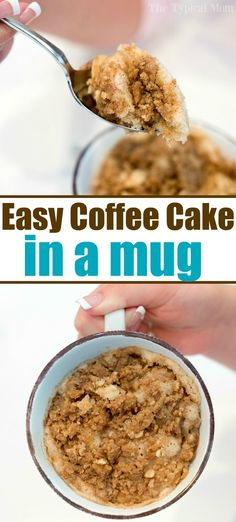 Easy mug cake recipe like coffee cake in a mug Perfect 1 minute microwave breakfast or dessert for one that s moist and satisfies your sweet tooth cake coffeecake mugrecipe mug dessert microwave cakeinamug Microwave Mug Recipes, Mug Cake Microwave, Baking Recipes, Cake Recipes, Easy Microwave Desserts, Microwave Cookies, Microwave Food, Lemon Mug Cake, Vanilla Mug Cakes
