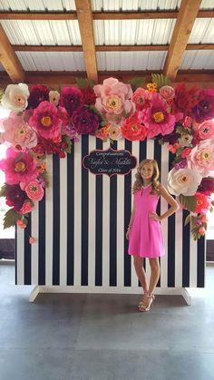 Kate Spade paper flower photo backdrop I made for graduation reception.: