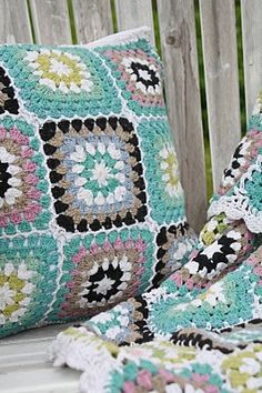 granny squares, crochet blanket & pillow