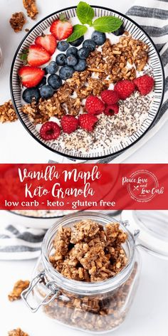 This Vanilla Maple Keto Granola is perfectly crunchy and best of all, it is gluten free, low carb and sugar free. This is the best keto granola recipe ever! | Peace Love and Low Carb Low Carb Keto, Low Carb Recipes, Real Food Recipes, Free Recipes, Yummy Food, Healthy Recipes, Keto Granola, Yogurt And Granola, Low Carb Breakfast Easy