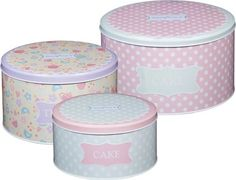 Kitchen Craft Sweetly Does It Round Cake Storage Tin Set of 3 - for sale online Box Cake, Cake Tins, Cake Plates, Shabby Chic Storage, Shabby Chic Boxes, Bakery Kitchen, Kitchen Craft, Cake Storage, Cake Carrier
