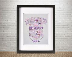 "Personalized New Baby GIRL 8.5"" x 11"" Wall Art Word Art - Swarovski Crystals, Newborn Nursery Gift, 3-D Mixed Media Print - DELUXE Design"