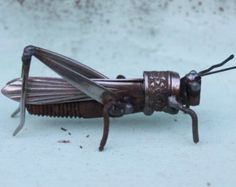 "3"" Scrap Metal Grasshopper from recycled metals"