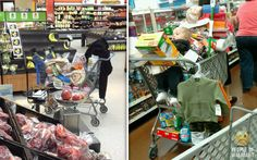 I think it's time we play Who Wears It Better: Packed Cart Edition. So are you a sucker for a cute kid (he is in there if you look hard enough) or do you prefer the legs up La-Z-Boy method?