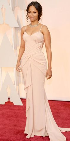 Academy Awards 2015 Red Carpet Arrivals - Zoe Saldana from #InStyle.  Proof a new mom can hit the red carpet looking great!