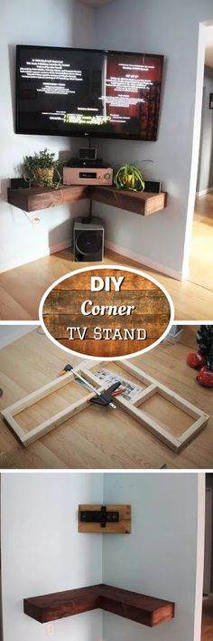 New Apartment Living Room Tv Stand Corner Tv Ideas Build A Tv Stand, Tv Stand Plans, Diy Tv Stand, Small Tv Stand, Corner Tv Stands, Corner Shelf, Corner Tv Wall Mount, Corner Bookshelves, Room Shelves