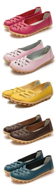 $14.78 Big Size Soft Breathabel Slip On Hollow Out Flat Shoes