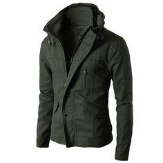 Mens High neck Field Jackets without Hood KMOJA024 from Doublju