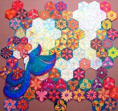 """Puzzle """"O Vôo do Beija-Flor"""" - Posição possível do beija-flor sobre as flores IV - Por Antônia Sobral"""