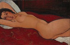 Amedeo Modigliani (Italian, 1884–1920). Reclining Nude, 1917. The Metropolitan Museum of Art, New York. The Mr. and Mrs. Klaus G. Perls Collection, 1997 (1997.149.9) | Modigliani is best known for the works created in Paris between 1915 and 1919—portraits, in which a few telling details achieve a striking likeness, and nudes. #paris