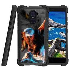 ZTE Imperial Max Case, Shockwave Armor Heavy Duty Kickstand Defender Case - Blazing Eagle