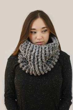 Grey White Cowl wool acrylic . very soft. crochet handmade miyuki crochet  montreal Neck Warmer 6aac44e6a2b