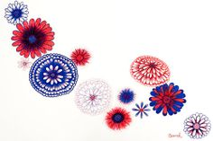 Pen Art: red and blue flower pen drawing by Sarah Jansma Flower Pens, Pen Design, Pen Art, Blue Flowers, Red And Blue, Butterfly, Drawings, Red And Teal, Sketches