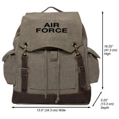Air Force USAF Text Vintage Canvas Rucksack Backpack with Leather Straps >>> Wow! I love this. Check it out now! : Day backpacks