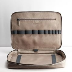 Grey Leather Travel Laptop Bag Men iPad Macbook Portfolio | Etsy Laptop Carrying Case, Laptop Bag, Galaxy Book, Edc Everyday Carry, Minimalist Wallet, Tech Gifts, Medium Bags, Grey Leather, Macbook