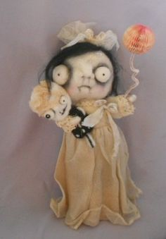 Ghost Baby needle felted art doll by papermoongallery on Etsy, $79.00