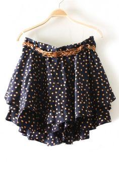 Navy Polka Dot Skirt