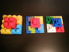 Fractal half-octahedron, or square pyramid, using megapixels, duplos, and legos.