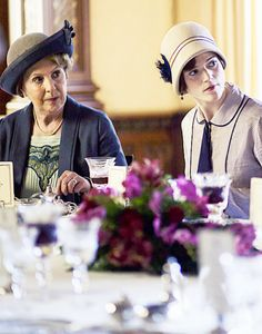 Penelope Wilton as Isobel Crawley and Rose Leslie as Gwen...