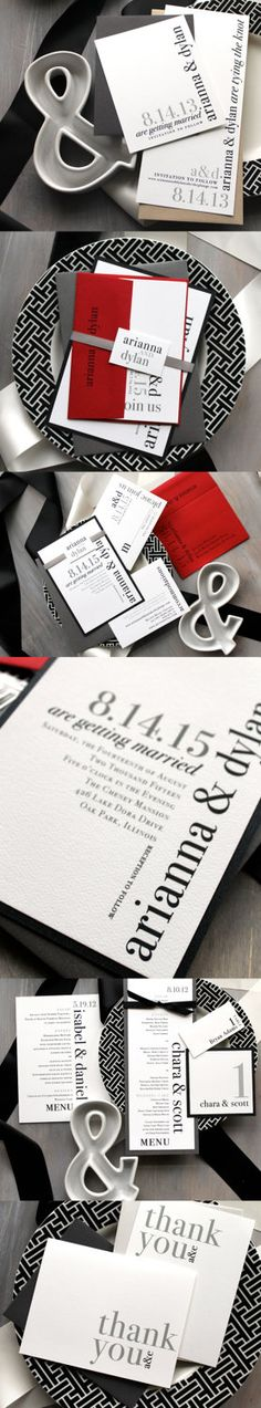 Urban Elegance - Modern Wedding Invitations - Black, White, Gray, Red.