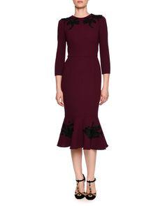 Baroque Bracelet-Sleeve Midi Dress, Purple/Black