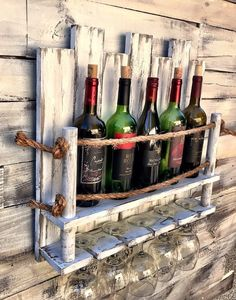 Wine Rack Under Cabinet Mount Wood Unique Wine Racks, Rustic Wine Racks, Pallet Wine Racks, Hanging Wine Rack, Wine Rack Wall, Decoration Palette, Wine Rack Design, Wooden Pallet Projects, Bars For Home