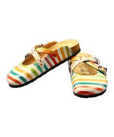 Look what I found on #zulily! Yellow & Blue Stripe Clog #zulilyfinds